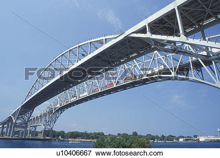 Picture of steel bridge, Port Huron, MI, Lake Huron, Michigan.