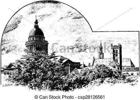 Clip Art Vector of Hall, Bell Tower of St. Etienne du Mont, and.