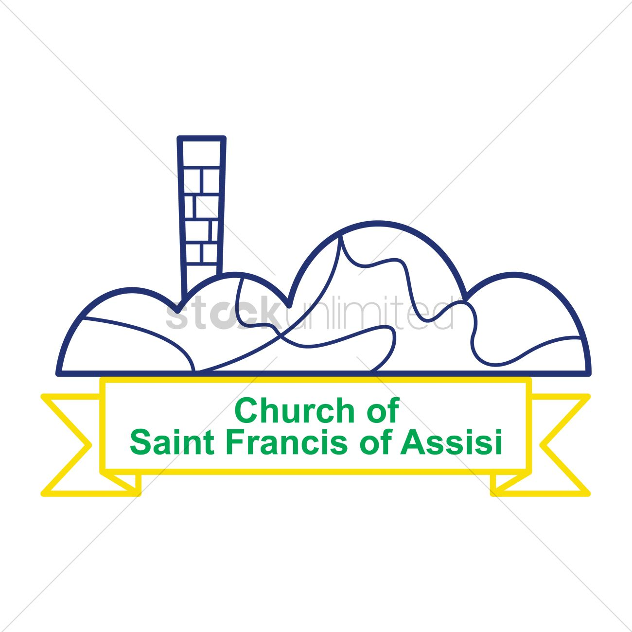 Church of saint francis of assisi Vector Image.
