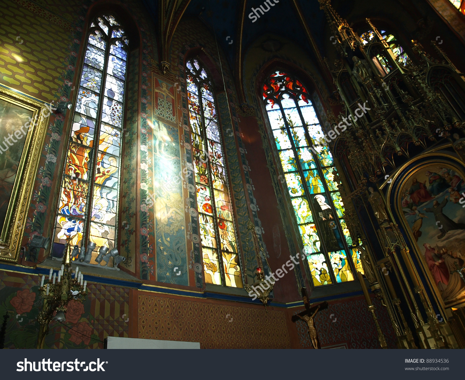 Stained Glassstfrancis Assisis Church Krakowpoland Stock Photo.