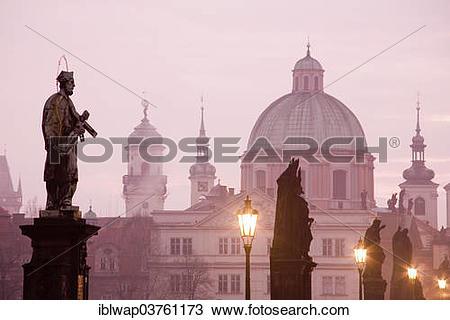 "Stock Photo of ""Saint figures, Charles Bridge, Church of St."