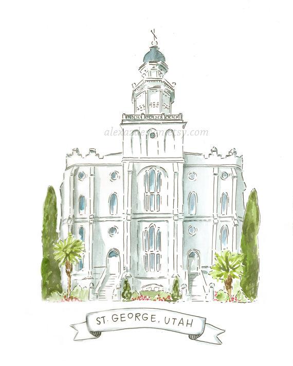 St. George Utah LDS Temple AZ212 Watercolor by alexazdesign.