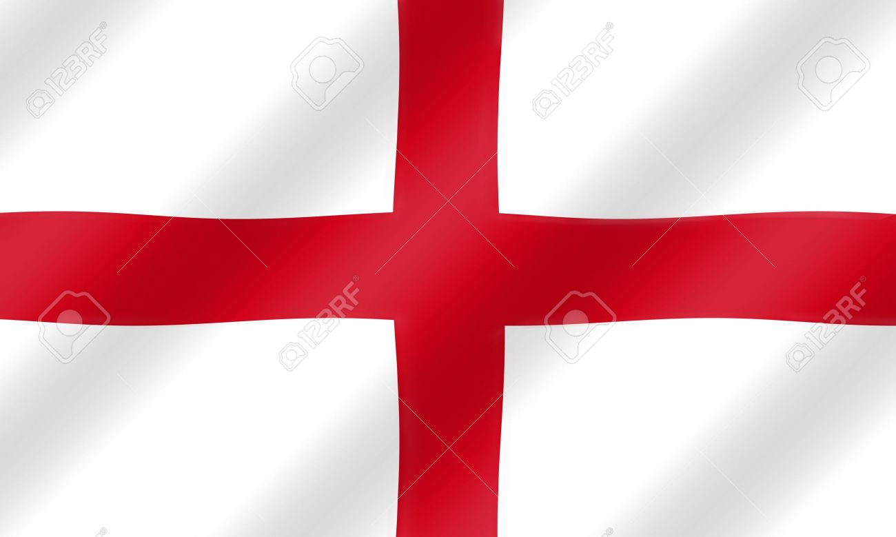 English St. George Flag Blowing In The Wind Illustration. Stock.