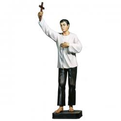 "Saint Lorenzo Ruiz Statue in Linden Wood (36"")."