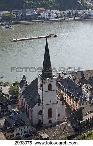 Stock Image of Protestant abbey church, St. Goar, Germany, bird's.
