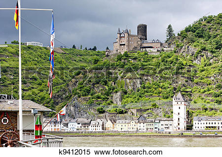 Stock Image of Cutts Castle, St. Goar, Rhineland.
