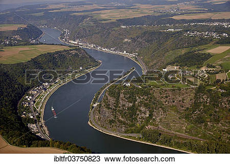 """Stock Photo of """"Lorelei rock on the river Rhine, aerial view, St."""