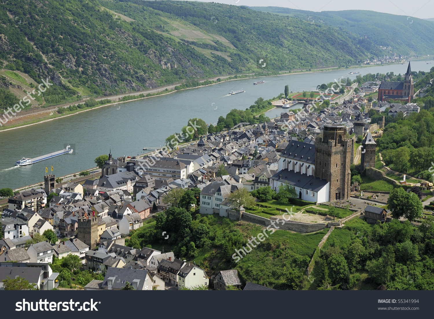 Village St. Goar At The River Rhine (Germany) Stock Photo 55341994.