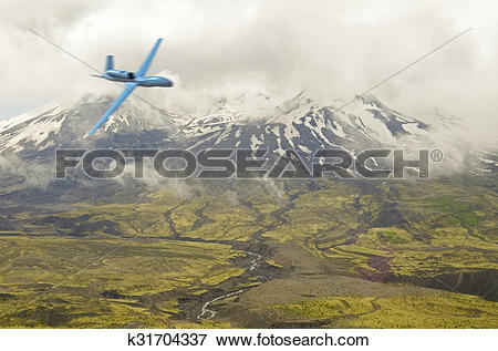 Stock Illustration of drone near mt. st. helens k31704337.