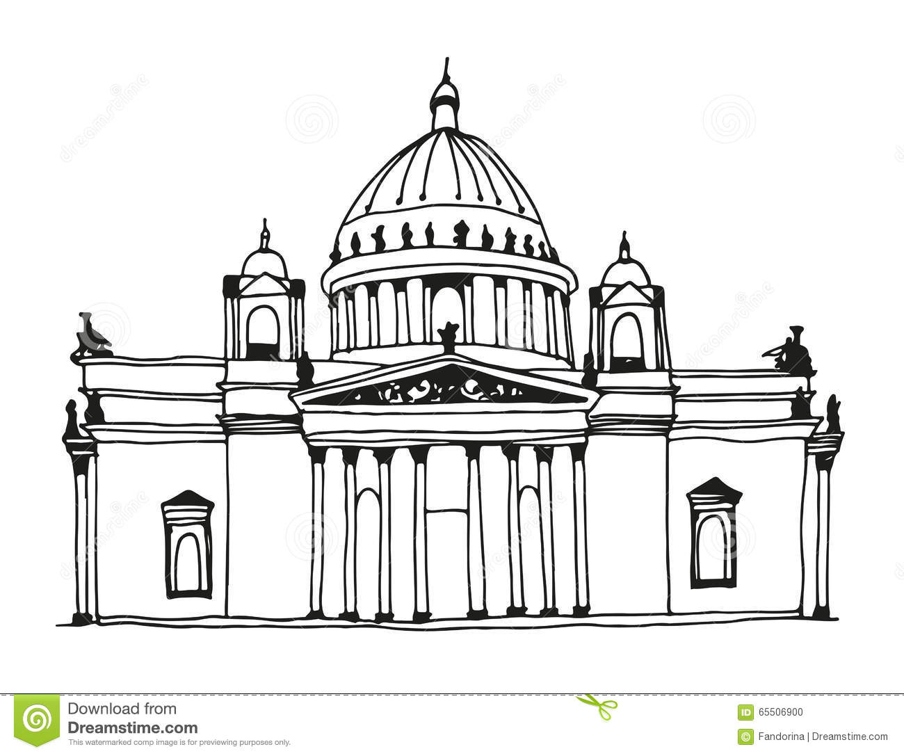 Hand Drawn Saint Isaac's Cathedral In Saint Petersburg, Russia.