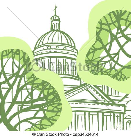 Vector Clip Art of St. Isaac's Cathedral in St. Petersburg with.