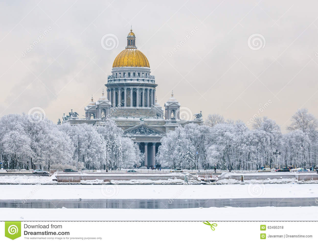 Saint Isaac's Cathedral In Winter, Saint Petersburg, Russia Stock.