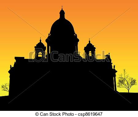 Vectors Illustration of silhouette of St. Isaac's Cathedral in St.