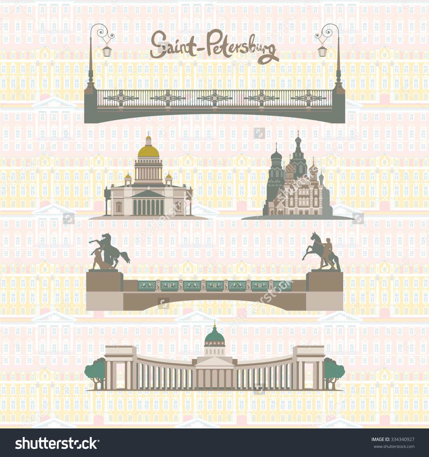 Set Main Sights Saintpetersburg Russia Kazan Stock Vector.