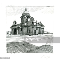 Saint Isaac's Cathedral, Petersburg stock vectors.