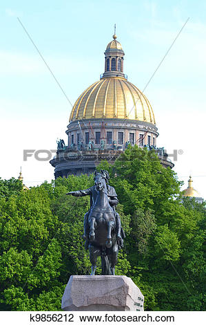 Stock Photo of St. Isaac's Cathedral and the Bronze Horseman.
