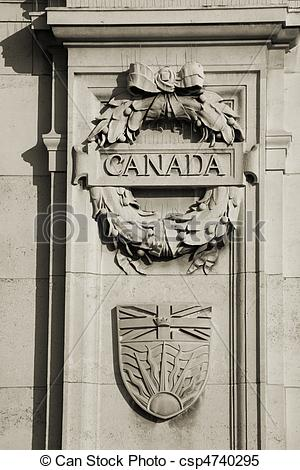 Stock Images of Canada emblem in London, next to the gate of St.