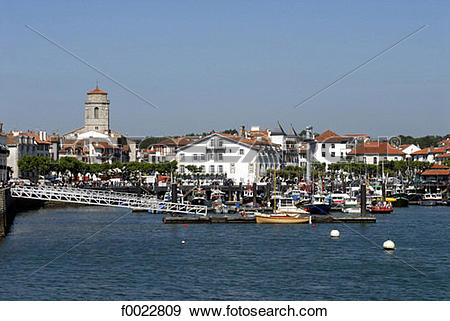 Stock Photograph of France, Aquitaine, Saint Jean de Luz, harbour.
