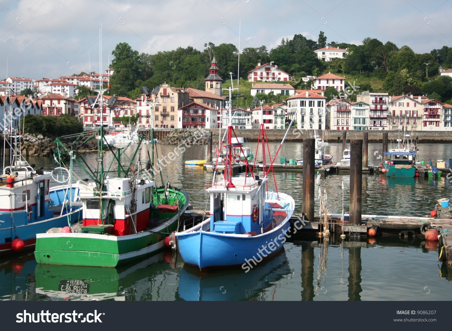 Fishing Harbor Of The Village St Jean De Luz In France Stock Photo.