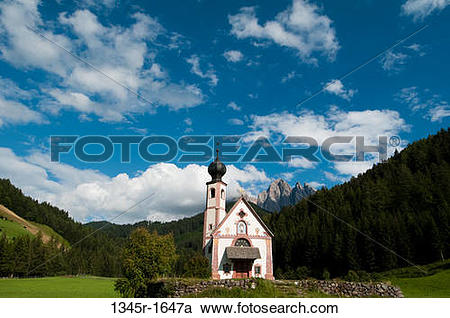 Stock Photography of Church on a landscape, St. Johann Church.