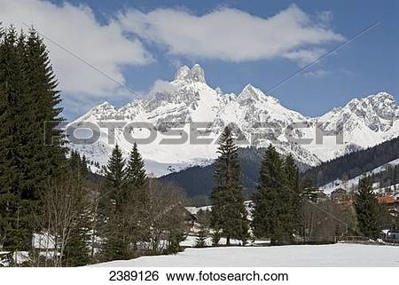 Stock Images of Trees in front of mountain, Dachstein Mountains.