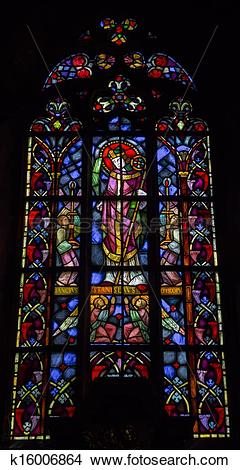 Stock Photo of Stained glass in the Cathedral of St. John Baptist.