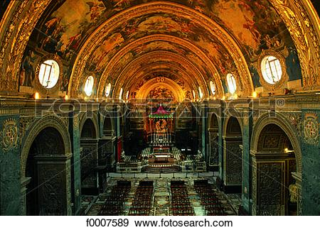 Stock Photograph of Malta, La Valette, nave of St John cathedral.