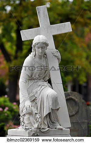 "Stock Photograph of ""Female sculpture holding a wreath and a cross."