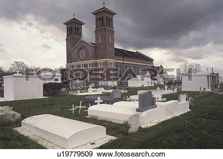 Stock Photograph of LA, Louisiana, Edgard, Graves above ground at.