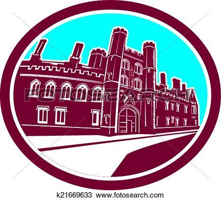 Clipart of St John's College Cambridge Building Retro k21669633.