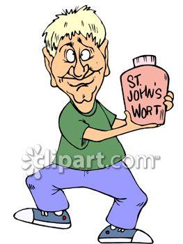 Man Holding a Bottle of St. John's Wort.