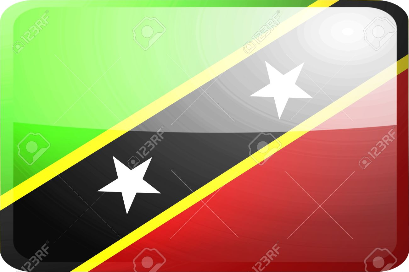 Flag Of Saint Kitts And Nevis St., National Country Symbol.