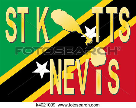 Stock Illustration of St Kitts Nevis text with map k4021039.