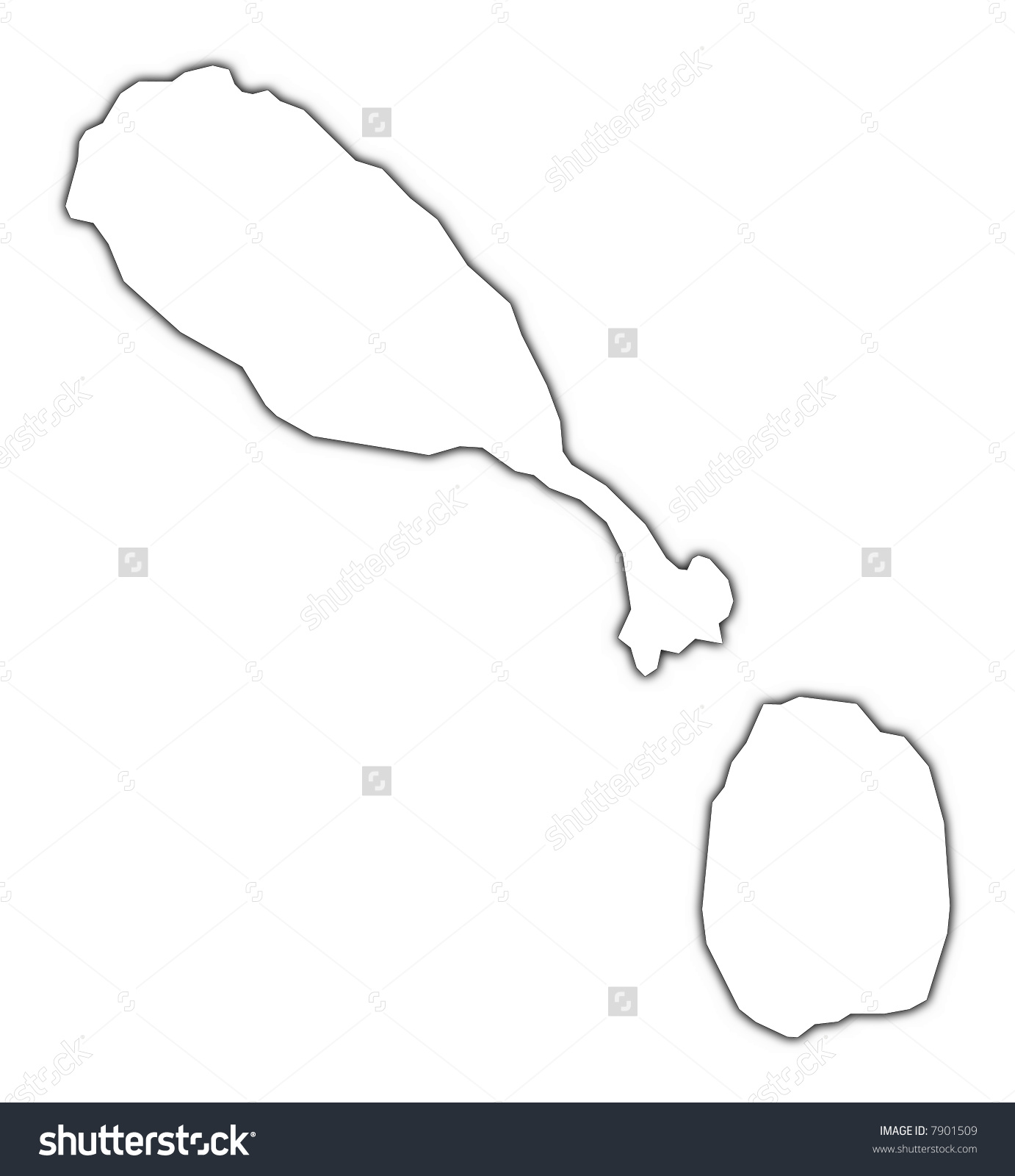 Saint Kitts Nevis Outline Map Shadow Stock Illustration 7901509.