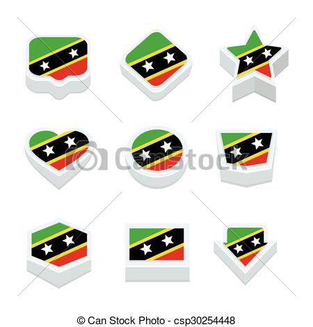 EPS Vector of st kitts & nevis flags icons and button set nine.