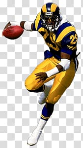 Football player holding red football, St Louis Rams Player.