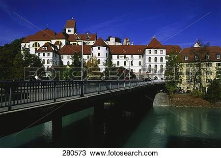 Stock Photo of Bridge across river, Lech River, Fussen, Bavaria.