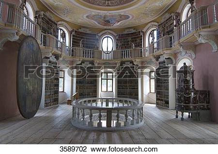 Stock Photo of Alte Bibliothek, Abbey Saint Mang, Fuessen, Bavaria.