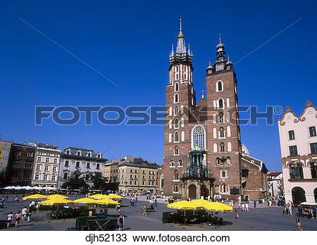 Stock Photo of St, Mary's Church, Old Town, Market Square, Krakow.