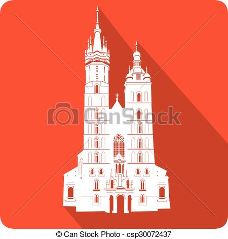 Vectors of symbol of poland St. Mary's Church, vector illustration.