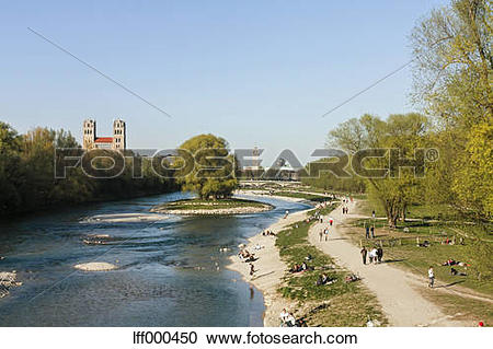 Stock Photography of Germany, Bavaria, Munich, People by River.