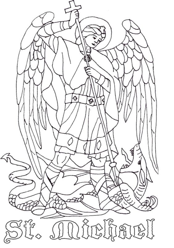 Holy archangels clipart to color.