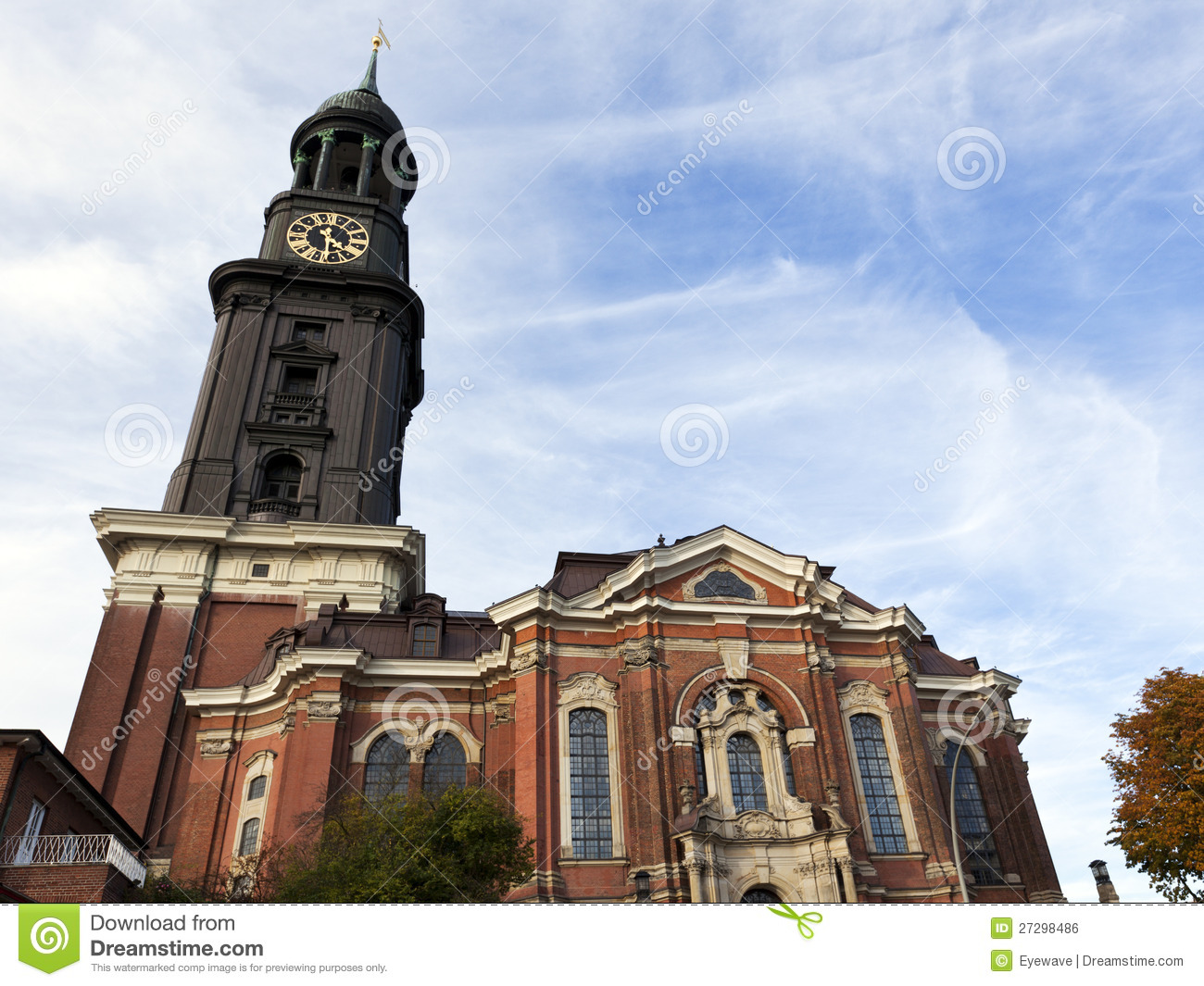 Hamburg's Main Church St. Michaelis Royalty Free Stock Image.