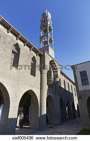 Stock Images of Turkey, Diyarbakir, facade and church spire of St.