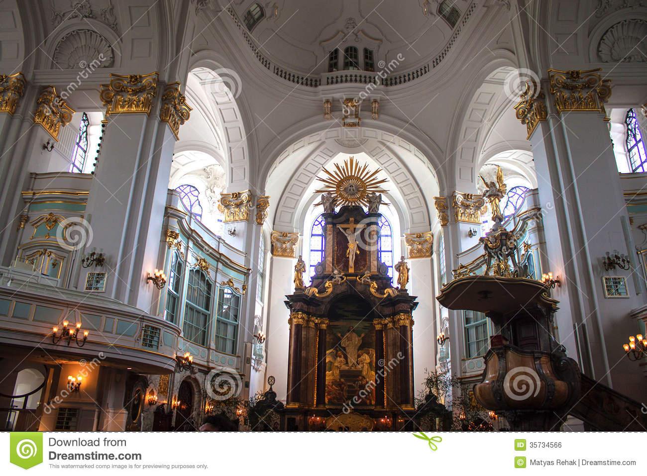 Interior Of St. Michaelis Church In Hamburg, Germany Stock Photo.