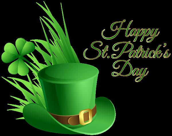 St Patricks Day Hat and Shamrock Transparent PNG Clip Art Image.