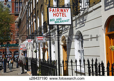 Stock Photography of England, London, St Pancras. Small hotels.