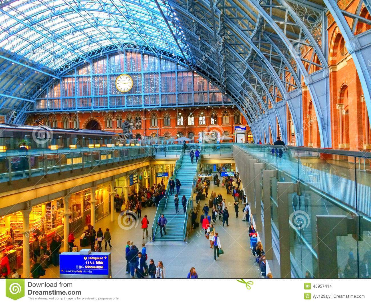 Eurostar St Pancras Internatioanl Railway Station Editorial Stock.