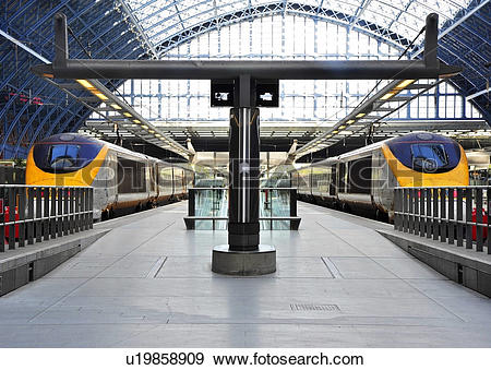 Stock Photograph of England, London, St Pancras. Eurostar trains.