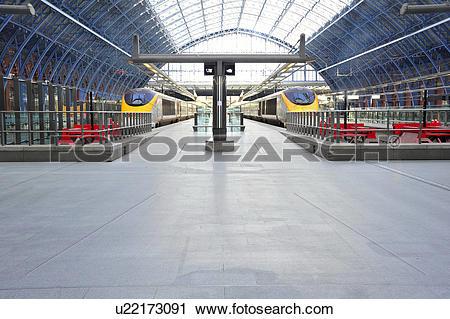 Stock Photography of England, London, St Pancras. Eurostar trains.